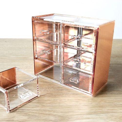目喜生活 | 可堆疊桌上型小抽屜六抽 (玫瑰金)