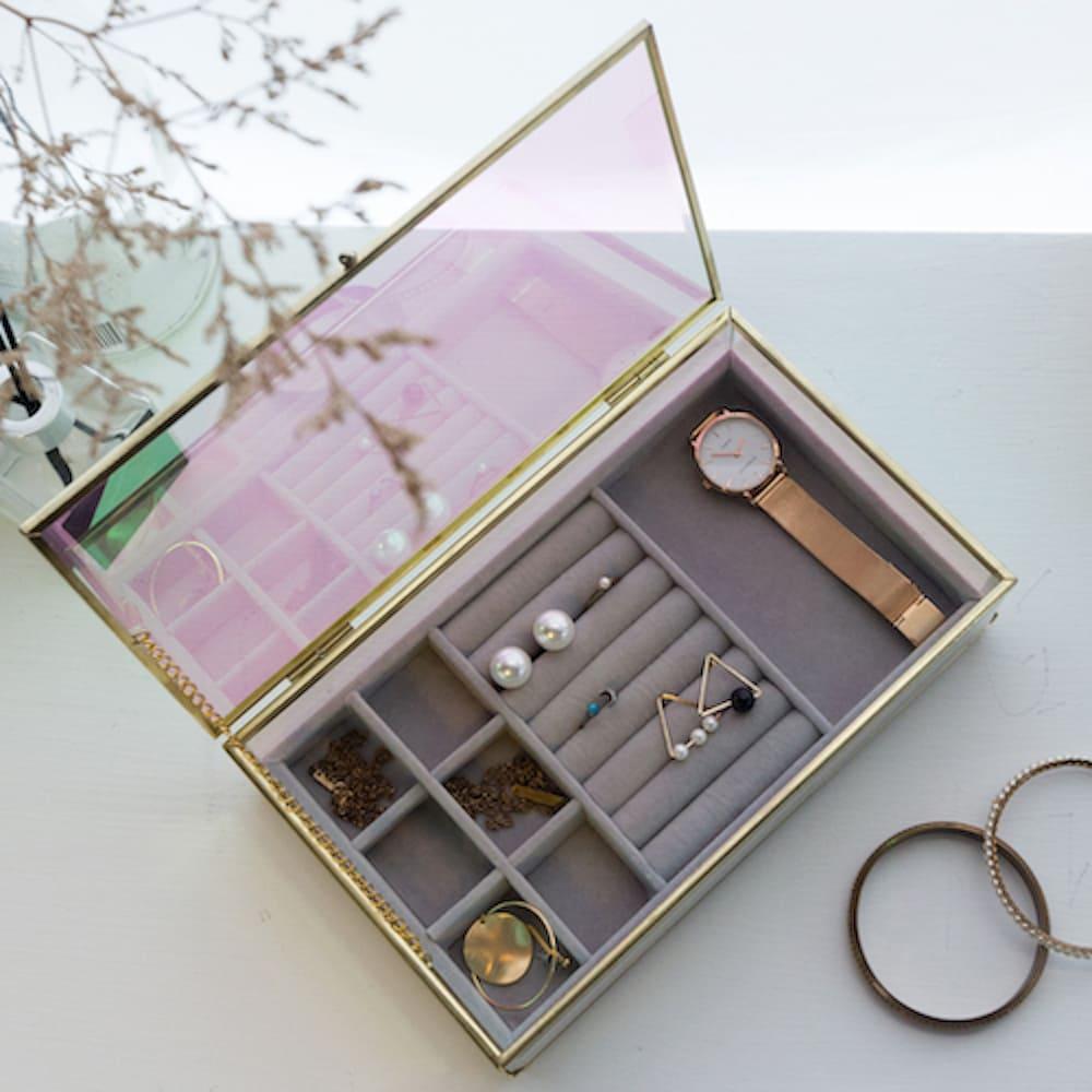 目喜生活 | 歐若拉極光玻璃盒長方款 附贈質感飾品絨布盒