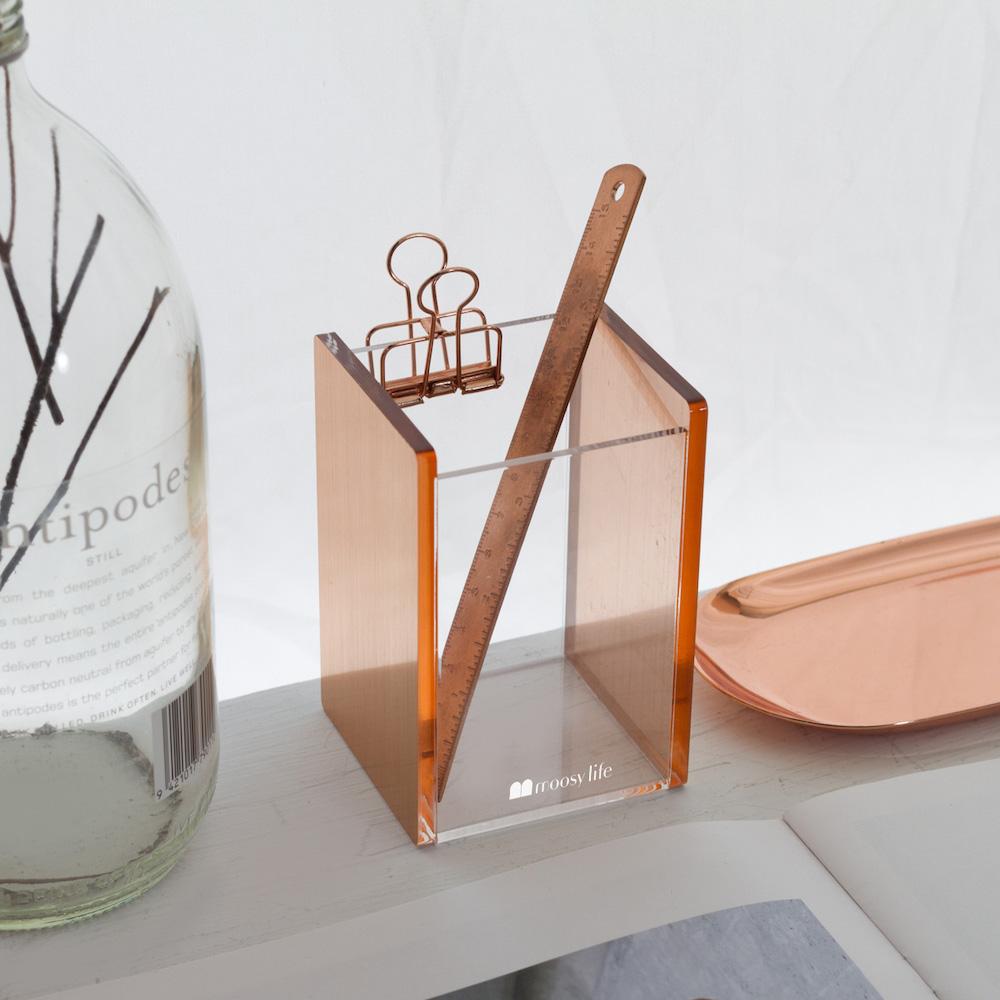 目喜生活|2020新款 玫瑰金桌面刷具收納筆筒 文具筆刷收納桶