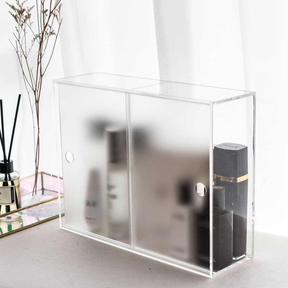 目喜生活|迷霧拉門 防塵壓克力化妝保養品收納櫃