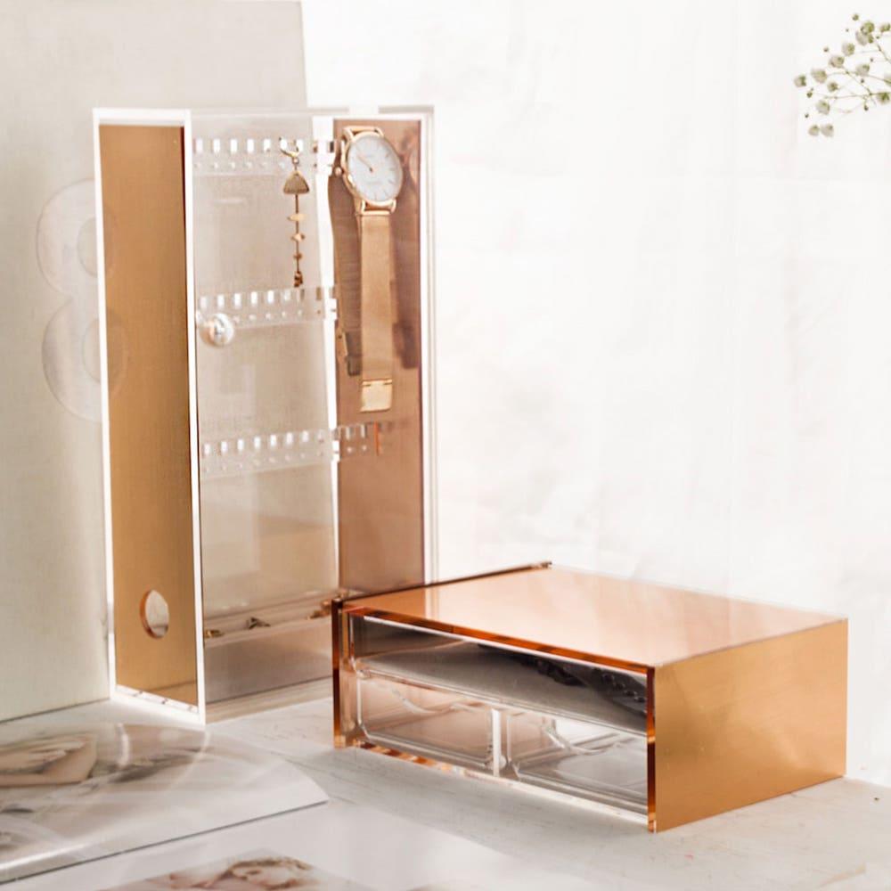 目喜生活|玫瑰金桌上收納盒 防塵鏡面飾品收納組