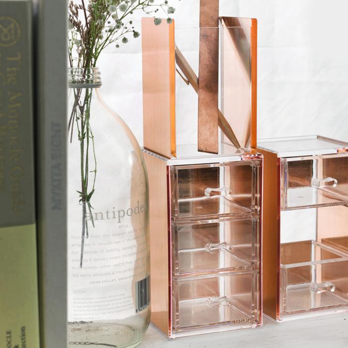(複製)目喜生活 | 玫瑰金可堆疊桌上型收納小3格抽屜 防塵小抽屜
