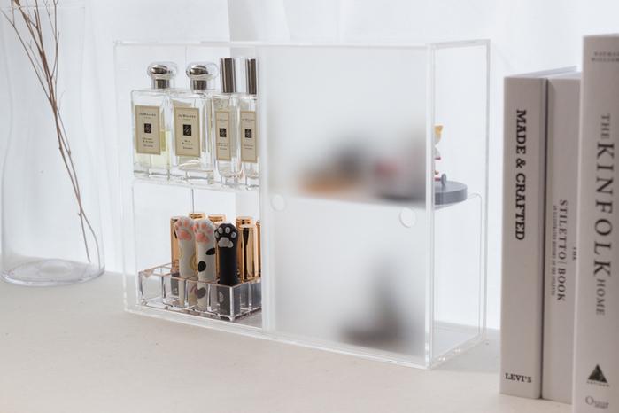 (複製)目喜生活 迷霧拉門 防塵壓克力化妝保養品收納櫃