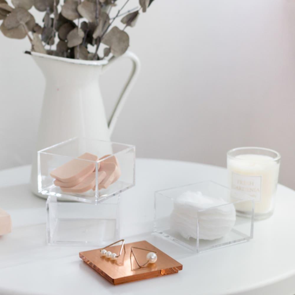 目喜生活|玫瑰金三格疊疊樂文具美妝小物棉籤收納盒