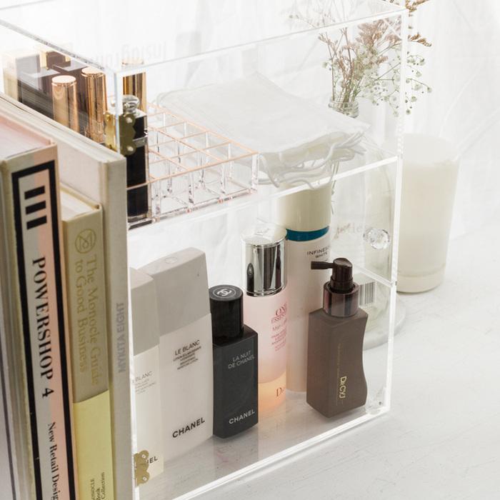 目喜生活|大容量三層防塵美妝透天厝 可抽隔板桌上口罩瓶罐收納箱