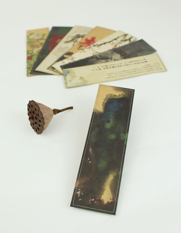 拾藝術|張大千 絹布書籤 山嵐