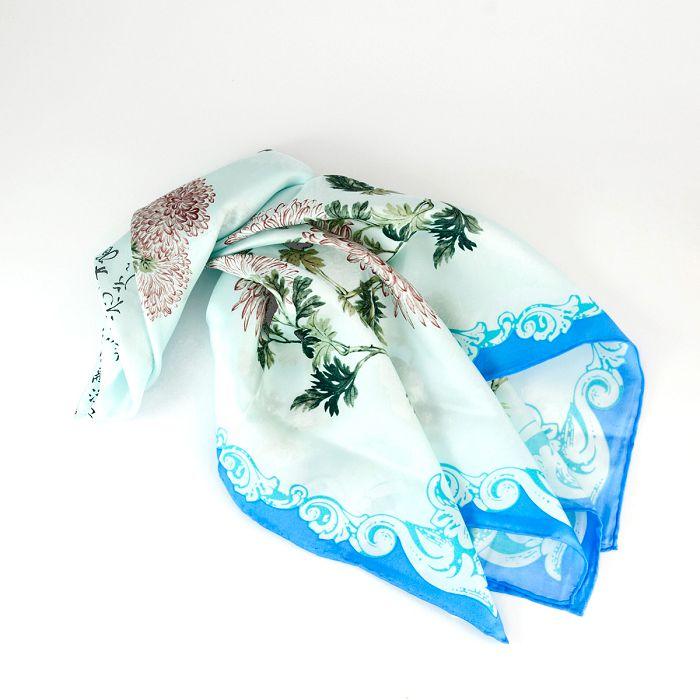 故宮精品 菊花絲巾 - 天藍