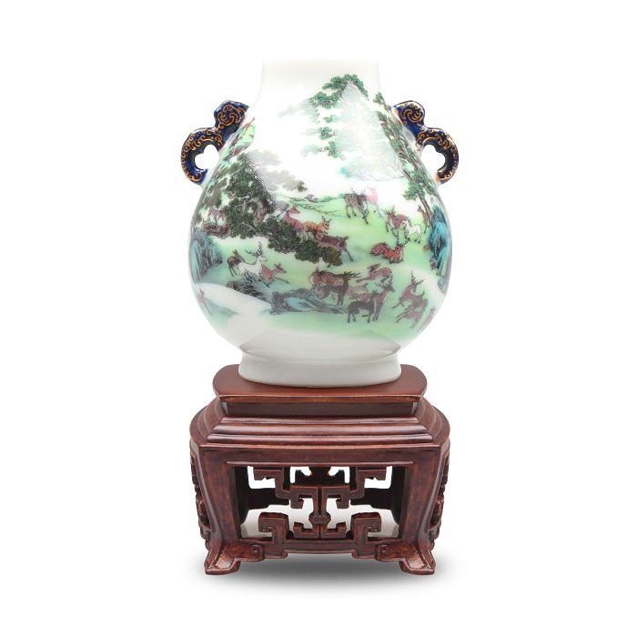 故宮精品|迷你瓷器 - 洋彩百祿雙耳尊