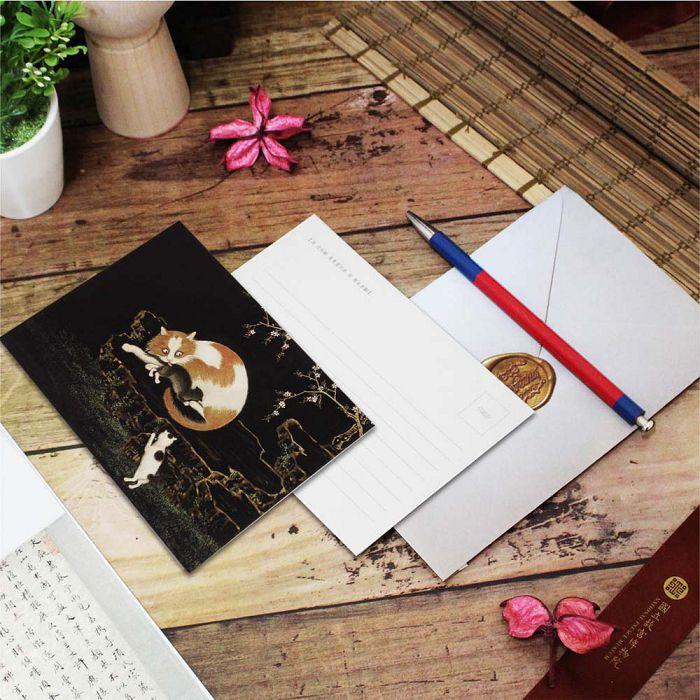 (複製)故宮精品 | 明信片-畫耄耋同春 貍奴黃鸝
