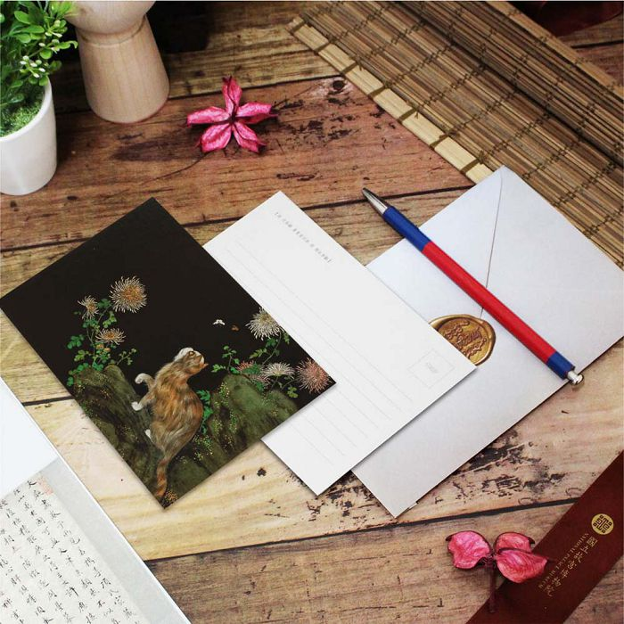 (複製)故宮精品 | 明信片-畫耄耋同春 菊葵貍奴