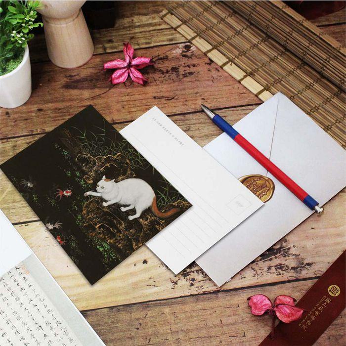 (複製)故宮精品 | 明信片-畫耄耋同春 菊花貍奴