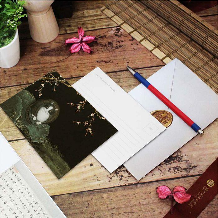 (複製)故宮精品 | 明信片-畫耄耋同春 貍奴魚藻