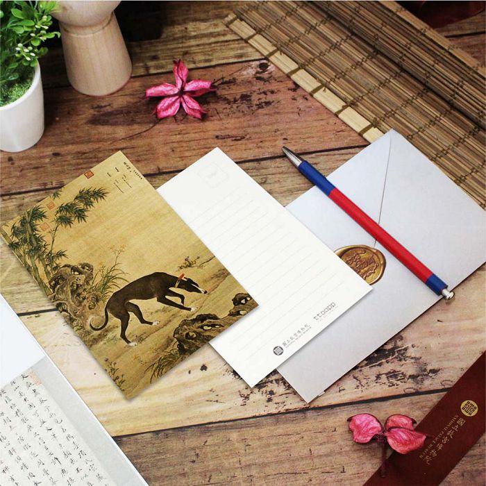 (複製)故宮精品 | 明信片-畫十駿犬茹黃豹