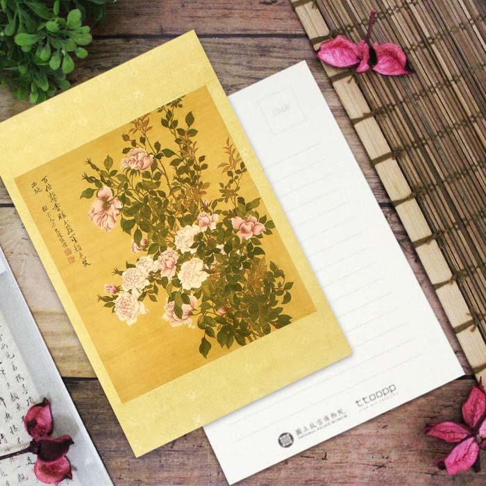 (複製)故宮精品 | 清張偉寫生花卉冊山茶明信片