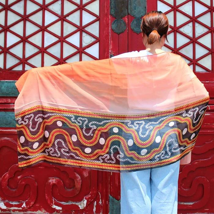 故宮精品 | 紗麗邊飾長絲巾圖紋