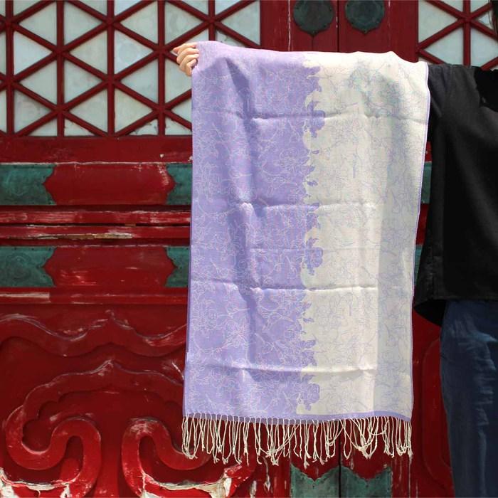 故宮精品|蘋婆山鳥羊毛圍巾 (紫)
