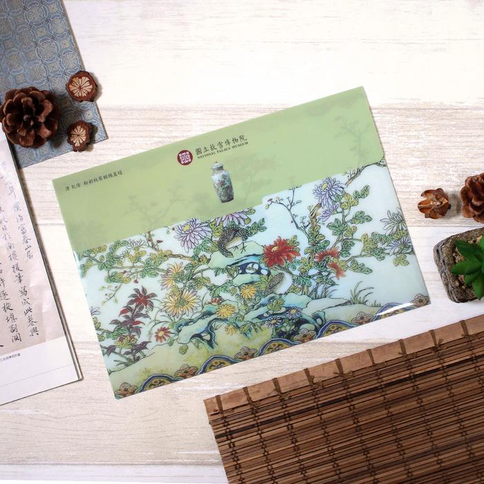 故宮精品   秋菊鵪鶉蓋罐資料袋