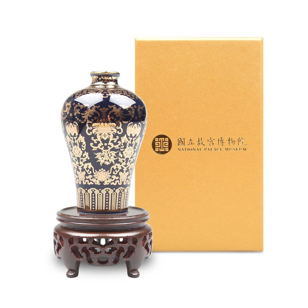故宮精品|迷你瓷器 - 霽青描金福壽梅瓶