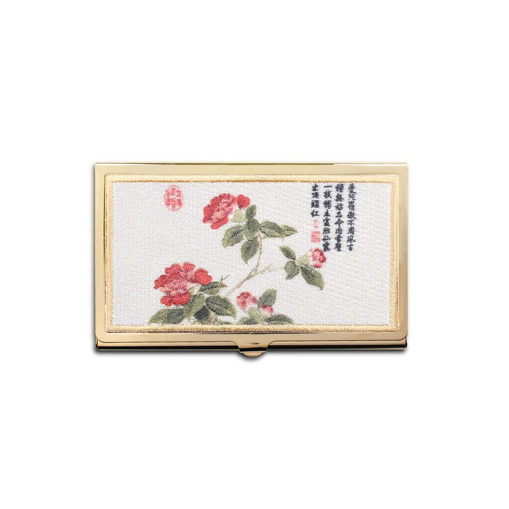 故宮精品|經典刺繡名片盒山茶花