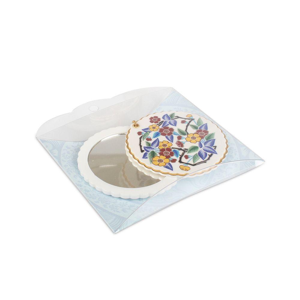 故宮精品|滑蓋圓鏡五彩花卉白