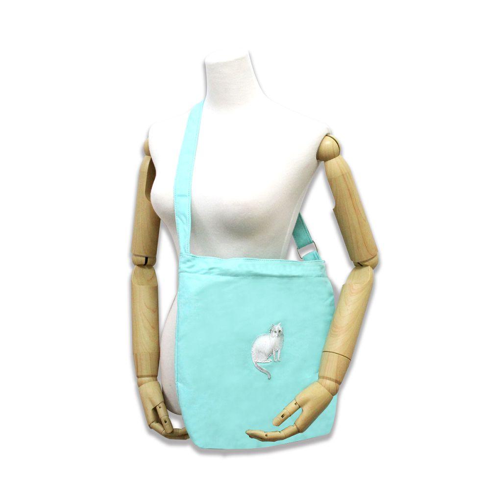 故宮精品|耄耋同春菊葵肩包-水藍