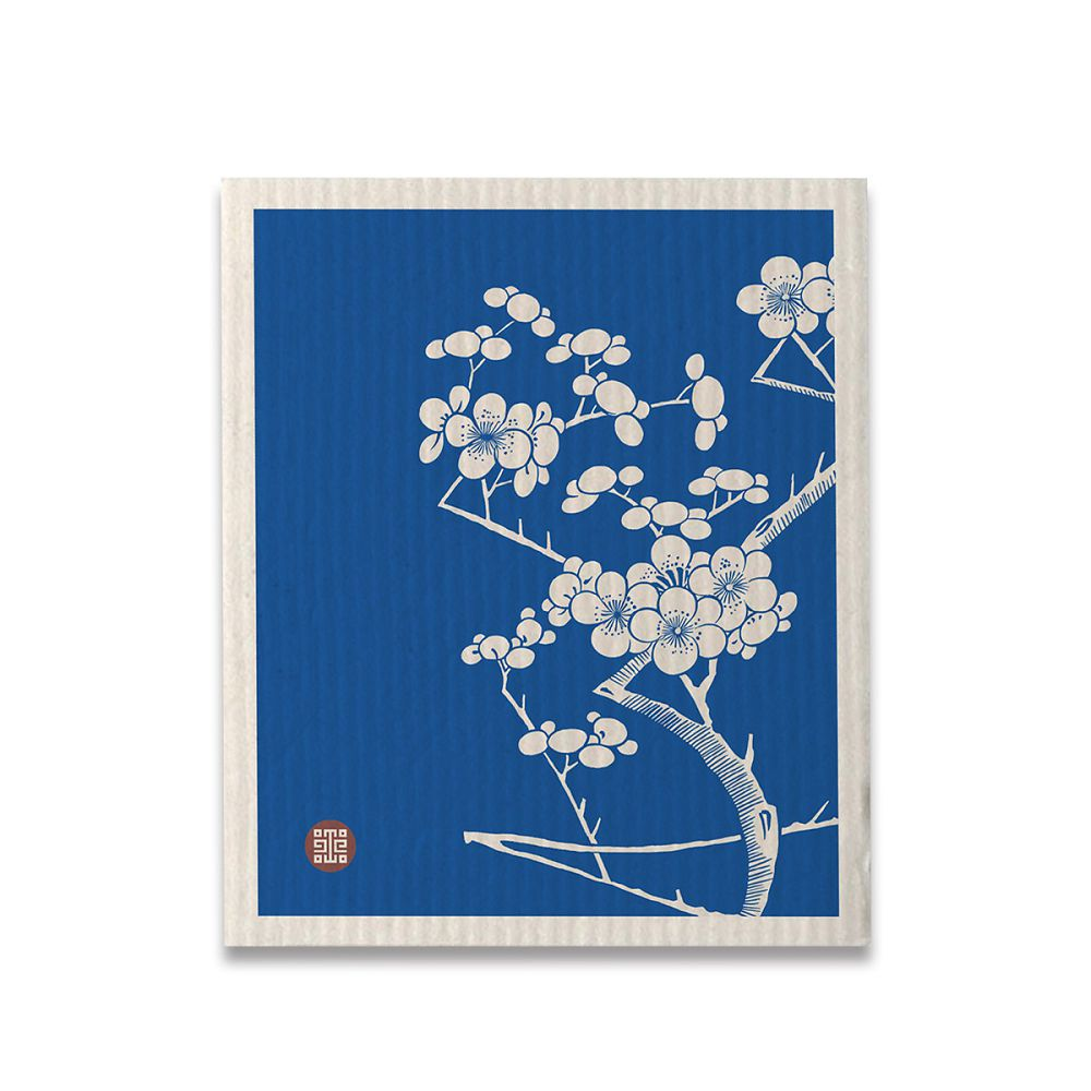 故宮精品 | 藍地白梅雙蝠耳茶布巾