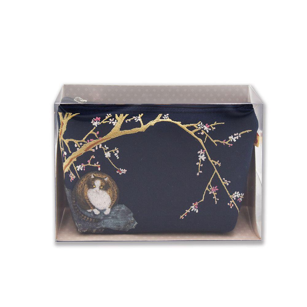 故宮精品 | 故宮紅梅貓化妝包(寶藍)