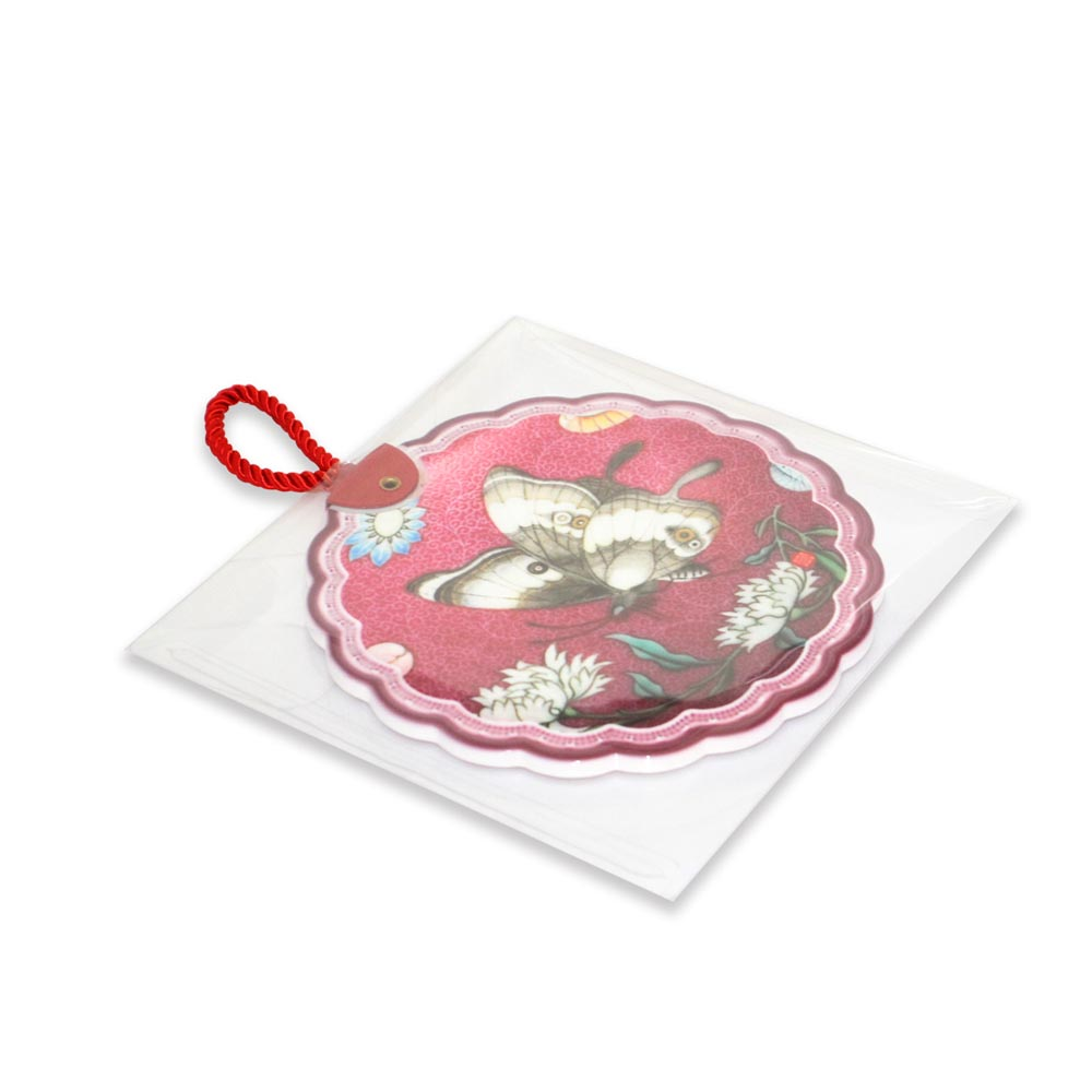 故宮精品 | 陶瓷隔熱墊粉彩花蝶