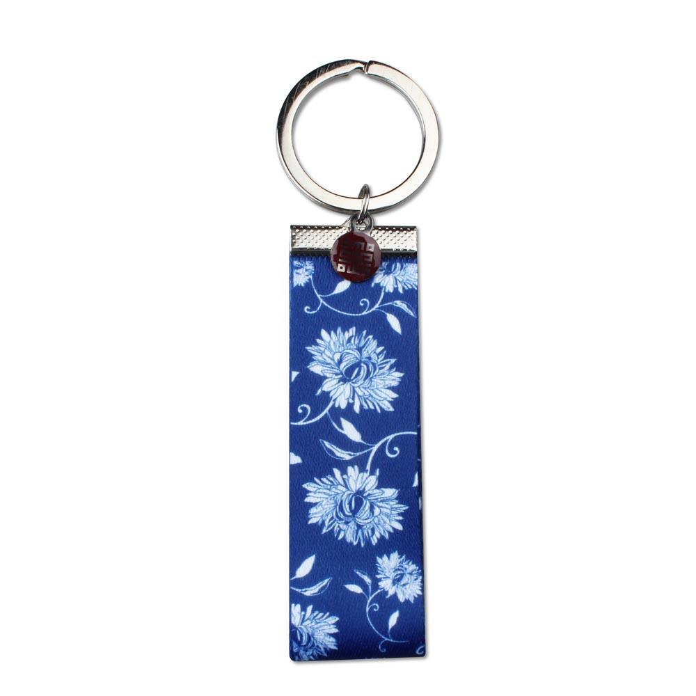 故宮精品   青花織帶鑰匙圈-藍
