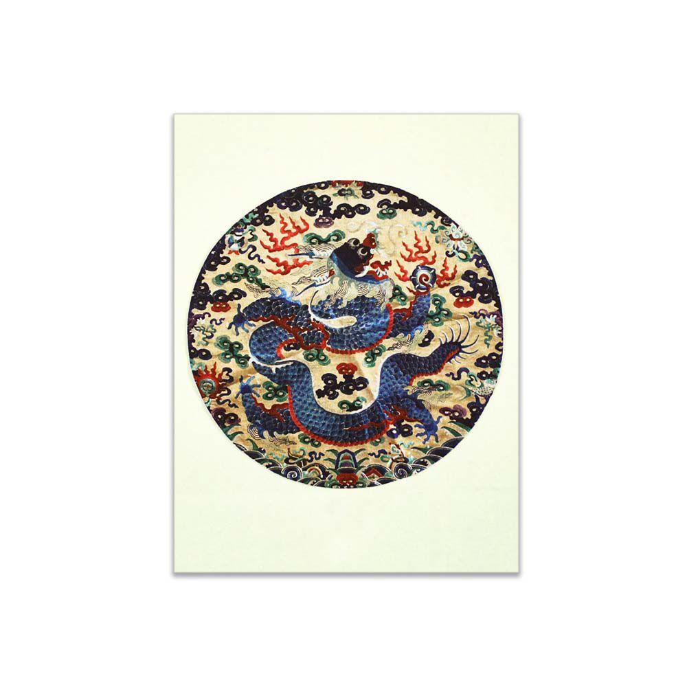 故宮精品 | 明信片-獨龍戲球緞面精繡 (局部)