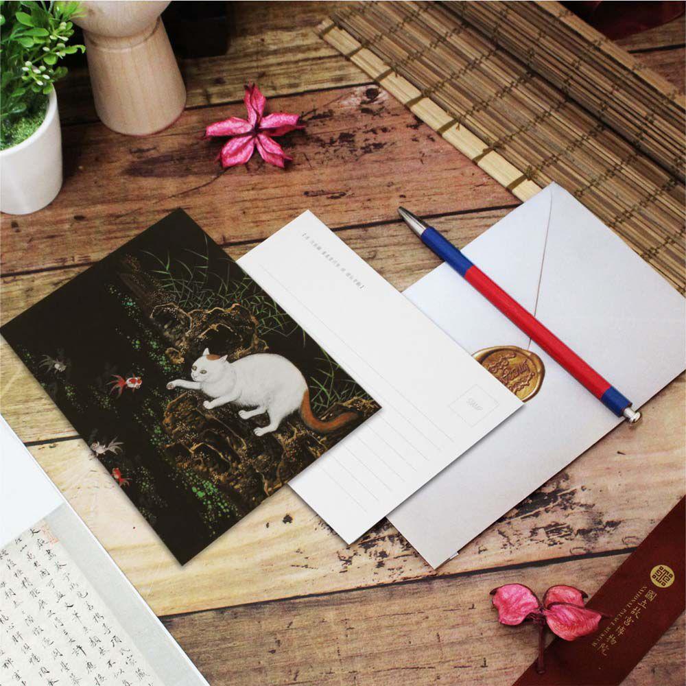 故宮精品   明信片-畫耄耋同春 貍奴魚藻