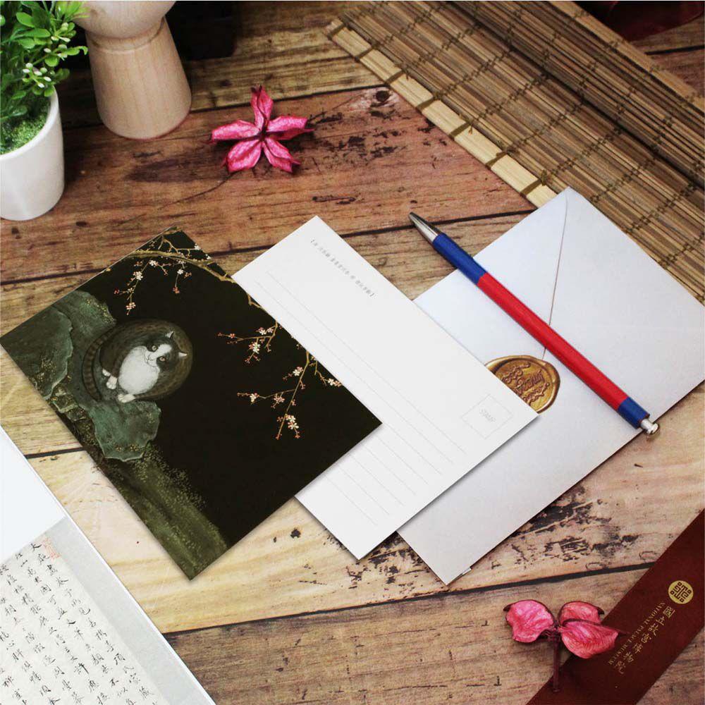 故宮精品 | 明信片-畫耄耋同春 紅梅貍奴