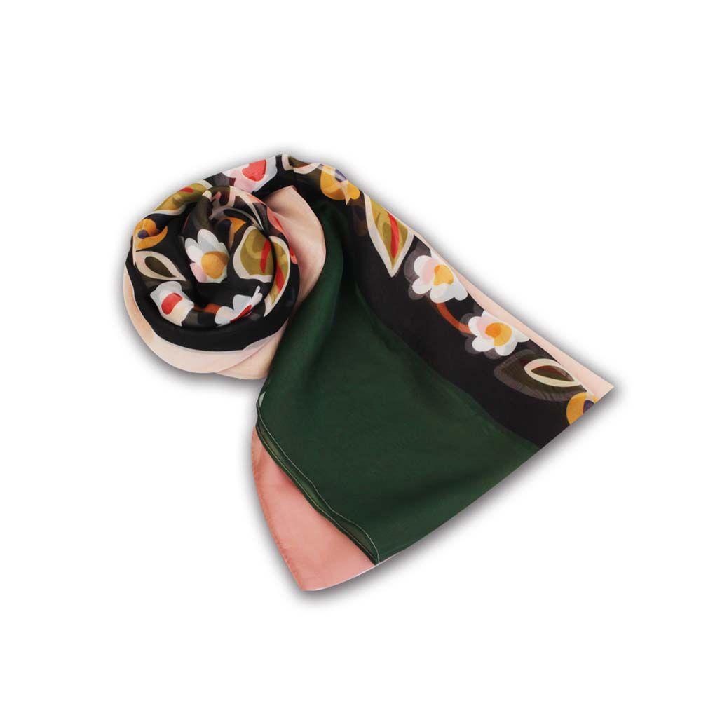 故宮精品   紗麗邊飾長絲巾花葉