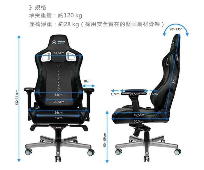 noblechairs EPIC系列電競賽車椅-賓士AMG Petronas 車隊聯名款