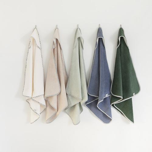 NANAMI   連帽包巾/浴巾 深綠色