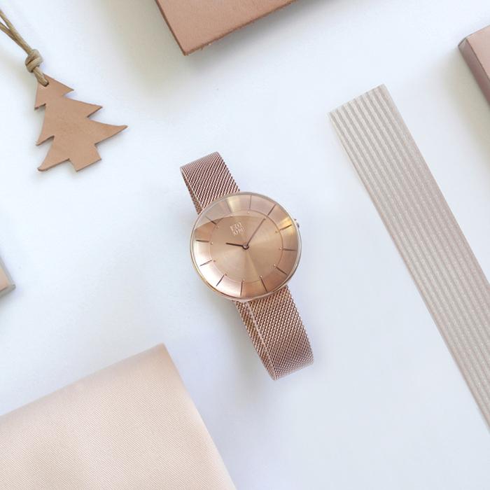 ZOOM|FLOATING 光感美學米蘭腕錶-玫瑰金/35mm