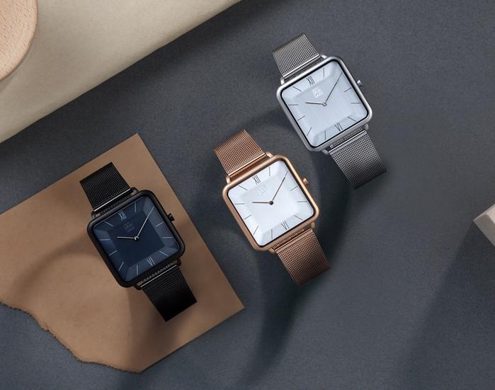 ZOOM │ THIN 時尚極簡晶礦方錶-銀色-35.5*35.5mm