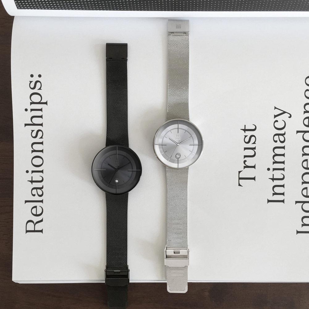 ZOOM FLOATING 光燦美學米蘭腕錶-黑/42.5mm