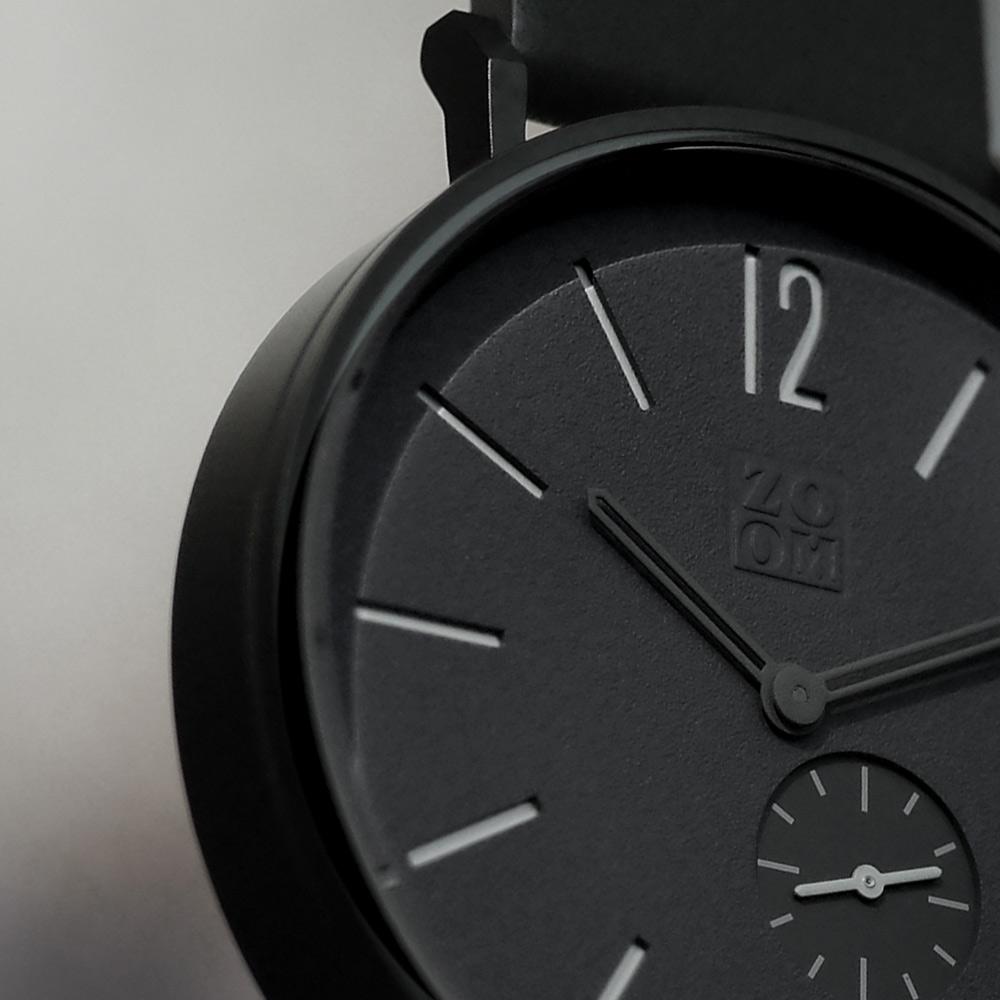 ZOOM LEAK 黎刻簡約小秒腕錶 - 黑/41mm