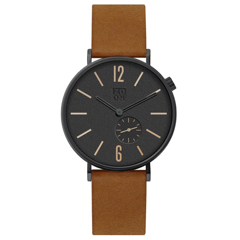 ZOOM|LEAK 黎刻簡約小秒腕錶 - 橙棕/41mm