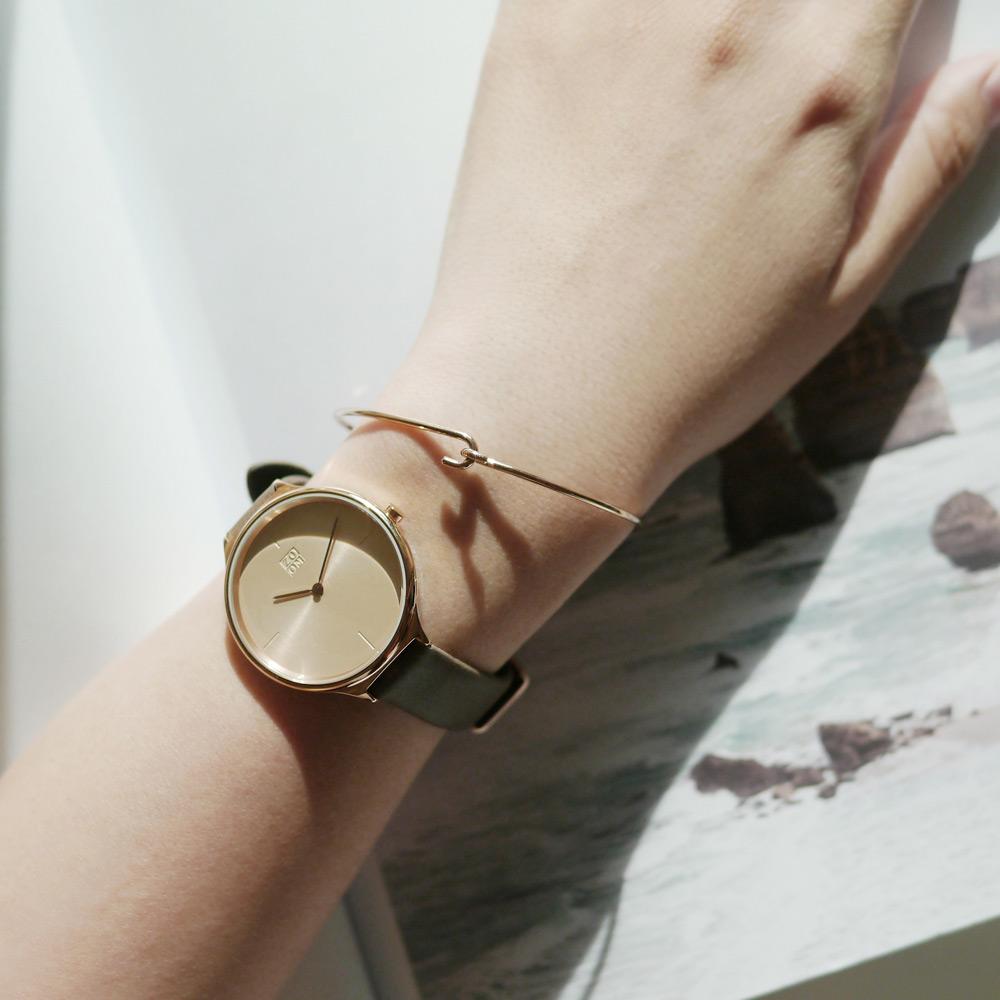 ZOOM|HAZY 輕薄潤澤知性女錶- 玫瑰金/34mm