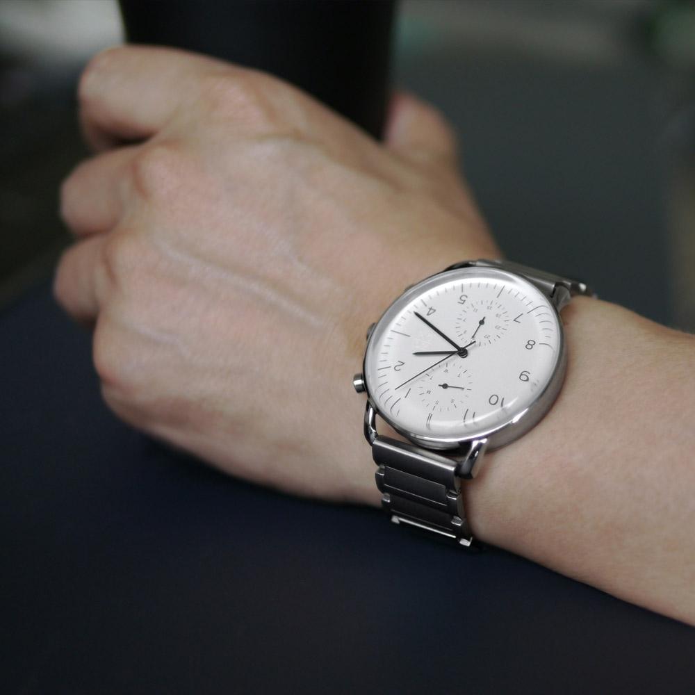 ZOOM|REFINE 7148 旅行者多功能鋼帶腕錶- 純淨白/44mm