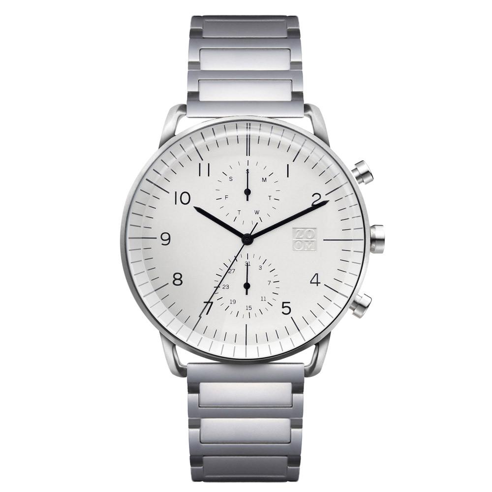 ZOOM REFINE 7148 旅行者多功能鋼帶腕錶- 純淨白/44mm