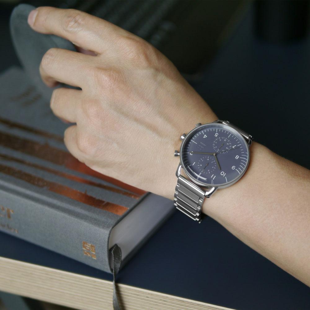 ZOOM|REFINE 7148 旅行者多功能鋼帶腕錶- 暗礦藍/44mm