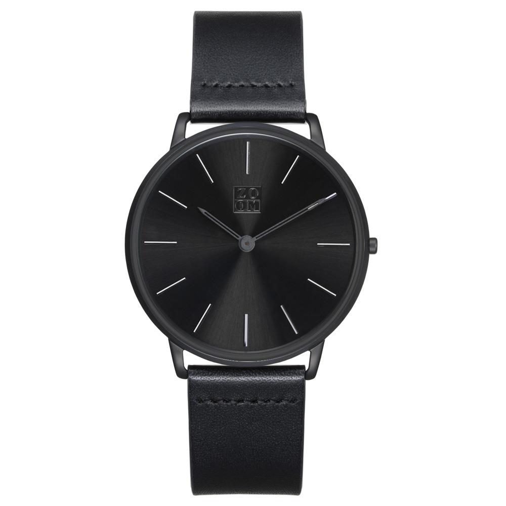 ZOOM THIN 5010 極簡超薄真皮皮革手錶(ZM5010)-黑