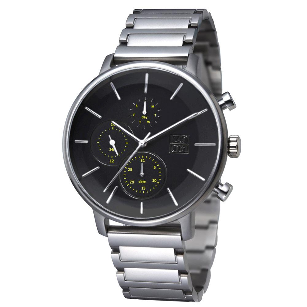 ZOOM|LENS 7138 美感聚焦概念鍊帶手錶(ZM7138)-黑