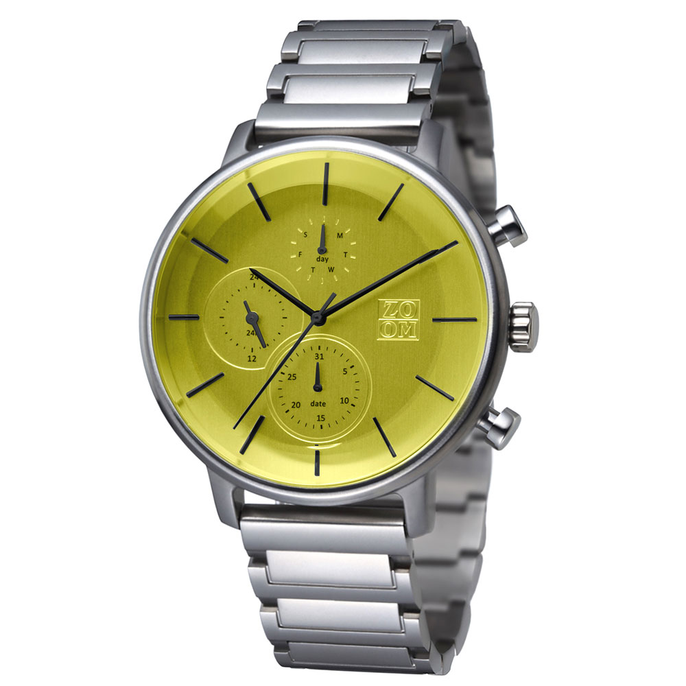 ZOOM|LENS 7138 美感聚焦概念鍊帶手錶(ZM7138)-黃綠