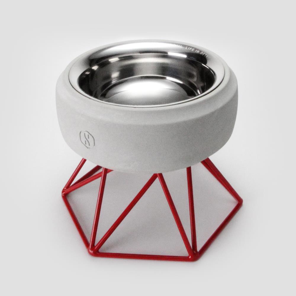 SPUTNIK︱COZY寵物碗 - 白水泥 (M1) / 紅架