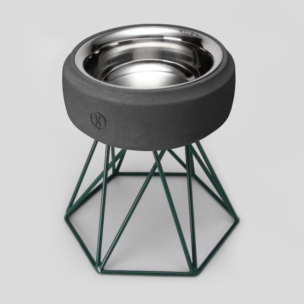 SPUTNIK︱COZY寵物碗 - 黑水泥 (M2) / 綠架