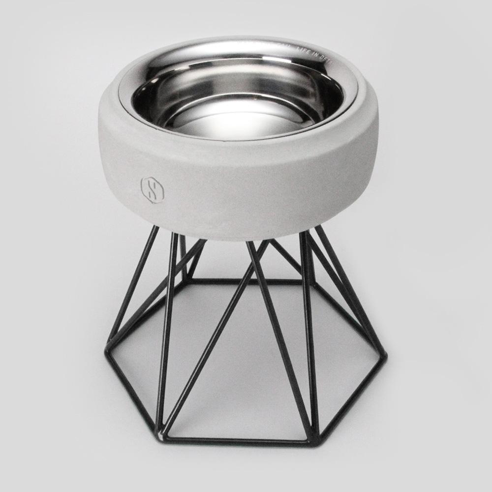 SPUTNIK︱COZY寵物碗 - 白水泥 (M2) / 黑架